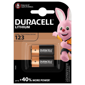Duracell lithium battery CR 123 3V - blister 2 items.