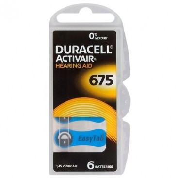 Duracell hearing aid battery 675 1,45V - blister of 6