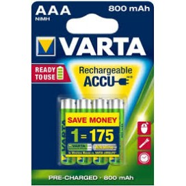 Varta rechargeable battery HR3 800 mAh Ready 2 use - blister of 4